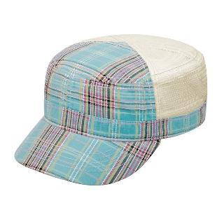 9039-Fashion Plaid Army Cap