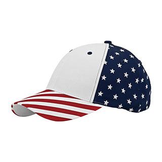 7649-6 Panel (Stru) Cotton Twill USA Flag Cap