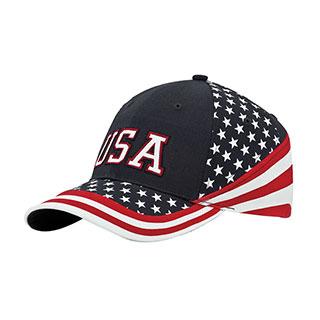 7650B-6 Panel (Stru) Cotton Twill USA Flag Cap