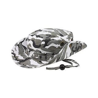 9013C-Camouflage Washed Hunting Hat W/ Self Fabric Chin Cord