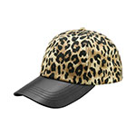 LEOPARD PRINT CAP WITH TEXTURED LEATHER BILL