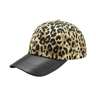 6874-LEOPARD PRINT CAP WITH TEXTURED LEATHER BILL