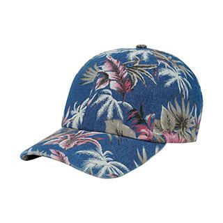 7655D-Denim Floral Print Cap