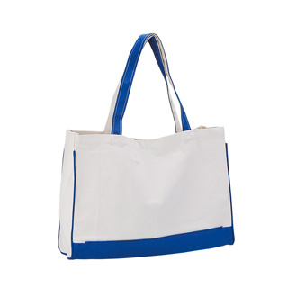 1506-TWO TONE CANVAS TOTE BAG