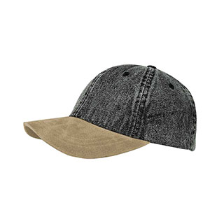 7611-Washed Denim Cap W/Suede Bill