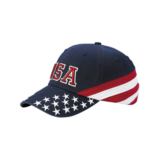 7642C-Low Profile (Uns) Cotton Twill Washed USA Flag Cap