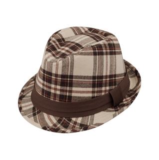 8933-Brushed Plaid Fedora Hat