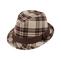 Main - 8933-Brushed Plaid Fedora Hat