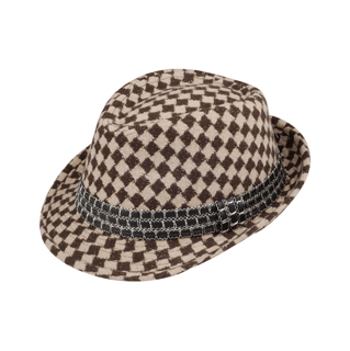 8934-Argyle Pattern Fedora Hat