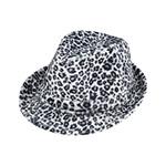 Leopard Print Faux-Fur Fedora Hat