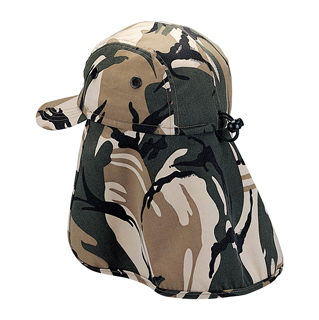 9020A-Camouflage Twill Cap W/Flap