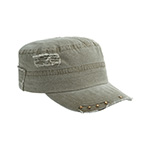 Enzyme Washed Herringbone Cotton Twill Army Cap