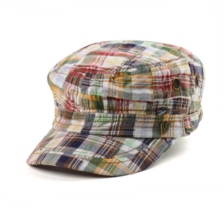 9047-Fashion Plaid Army Cap