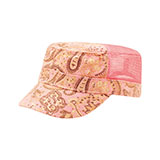 Ladies' Paisley Print Canvas Mesh Army Cap