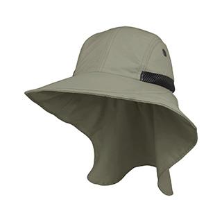J7213A-Juniper Men's Nylon Wide Brim Flap Cap