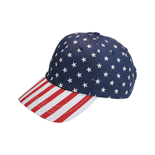 6916-Low Profile (Uns) USA Flag Print Twill Cap