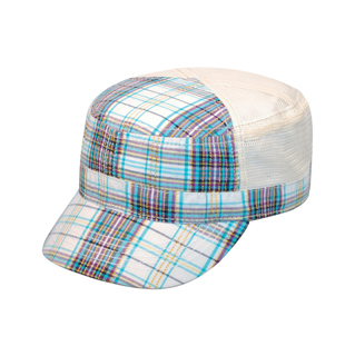 9039-Fashion Plaid Army Cap