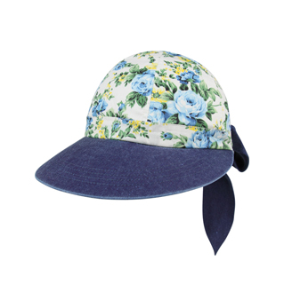 7671A-Ladies' Printed Flower Large Peak Hat
