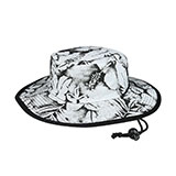 Flower Print Brushed Twill Cotton Reversible Wide Brim Hat