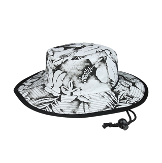 7842A-Flower Print Brushed Twill Cotton Reversible Wide Brim Hat