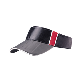 4042-Leather Look Fitted Visor