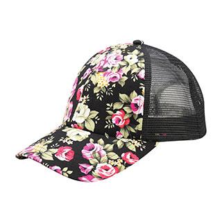 7655M-Floral Print Mesh Cap
