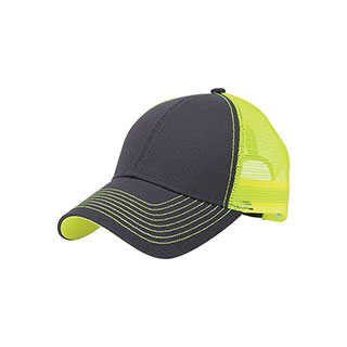7641B-Heavy Cotton Twill Trucker Cap W/Neon Mesh