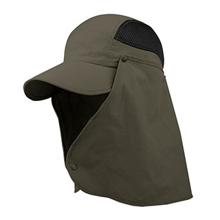 J7239B-Taslon UV Cap w/ Removable Neck Flap