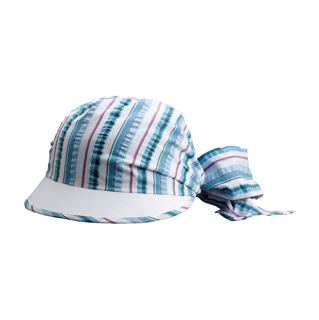 6540-Ladies' Striped Seersucker Cap