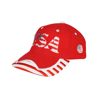 6917Y-Youth Low Profile (Str)  USA Flag Heavy Brushed Twil Cap