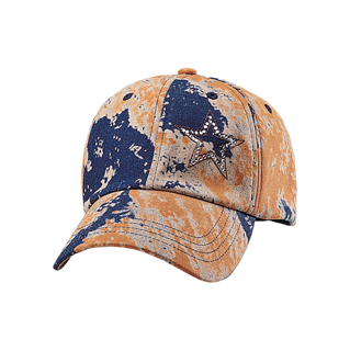 6940-Stretchable Denim Print Fitted Cap