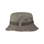 Frayed Cotton Twill Washed Bucket Hat