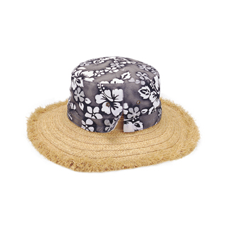 8041-Hawaiian Flower Print Straw Hat