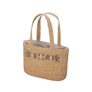 8107B-Sewn Braid Wheat Straw Bag W/Embroidered Flower
