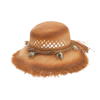 8180-Ladies' Tea Stained Raffia Straw Hat