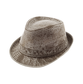 8922A-Washed Fedora Hat W/Distressed Look