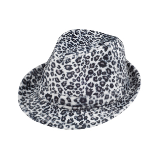8935-Leopard Print Faux-Fur Fedora Hat