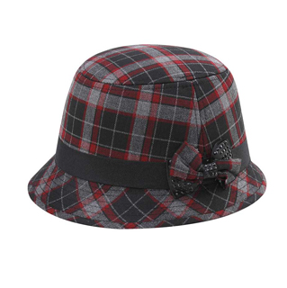 8944-Infinity Selections Wool Plaid Cloche Hat