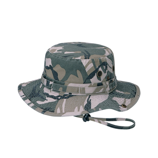 9013A-Washed Camouflage Twill Hunting Hat W/Self Fabric Chin Cord