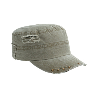 9033-Enzyme Washed Herringbone Cotton Twill Army Cap