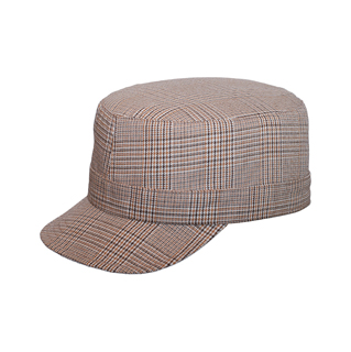 9044-Ladies' Fashion Plaid Military Cap