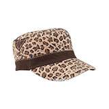 Ladies' Washed Canvas Leopard Print Army Cap