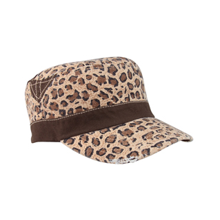 9050-Ladies' Washed Canvas Leopard Print Army Cap